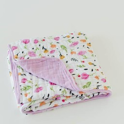 Little Unicorn Little Unicorn - Couette en Mousseline de Coton/Cotton Quilt, Baies et Fleurs/Berry and Bloom