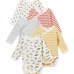 Petit Bateau Petit Bateau - Lot de 5 Cache-Couches/Pack of 5 Rompers, Animaux et Rayures/Animals and Stripes