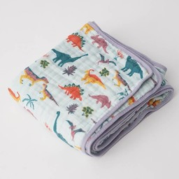 Little Unicorn Little Unicorn - Couette en Mousseline de Coton/Cotton Muslin Quilt, Embroidosaurus