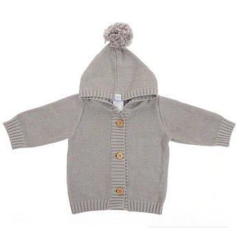 Beba Bean Beba Bean - Veste à Pompon en Tricot/Crochet Knit Pompom Hoodie, Gris/Grey