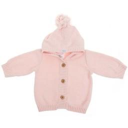 Beba Bean Beba Bean - Veste à Pompon en Tricot/Crochet Knit Pompom Hoodie, Rose/Pink