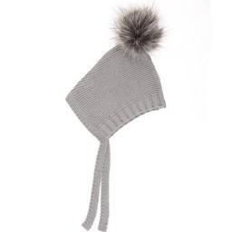 Beba Bean Beba Bean - Tuque à Pompon en Tricot/Crochet Knit Pompom Hat, Gris/Grey
