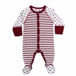 Coccoli Coccoli - Pyjama à Pattes en Coton Double Maille/Cotton Double Knit Footie, Avoine & Canneberge/Oatmeal & Cranberry