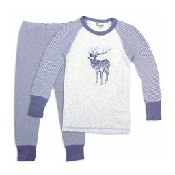 Coccoli Coccoli - Pyjama 2 Pièces en Coton Côtelé/Cotton Rib 2 Pieces Pajama, Rayé Violet Gris/Violet Grey Stripe