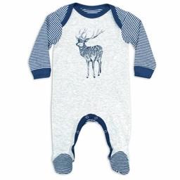 Coccoli Coccoli - Pyjama à Pattes en Coton Côtelé/Cotton Rib Footie, Rayé Bleu Bijou Gris/Bijou Blue Grey Stripe