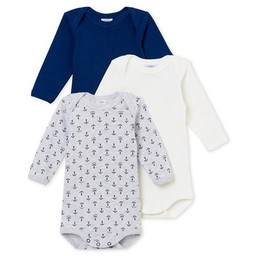Petit Bateau Petit Bateau - Lot de 3 Cache-Couches/Pack of 3 Rompers, Gris et Ancres/Grey and Anchors