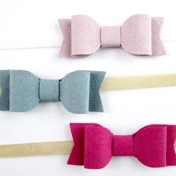 Baby Wisp Baby Wisp - Paquet de 3 Bandeaux avec Boucles Mia/Faux Suede Mia Bows Giftset Headband, Bleu, Lilas et Magenta/Blue Lilac and Magenta
