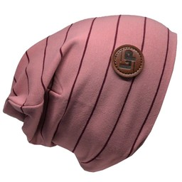 L&P L&P, Boston - Tuque de Coton Rayée/Striped Cotton Beanie, Rose Vintage et Rose/Vintage Pink and Pink