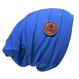 L&P L&P, Boston - Tuque en Coton Rayée/Striped Cotton Beanie, Bleu Cobalt et Noir/Cobalt Blue and Black