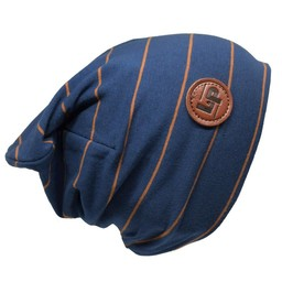 L&P L&P, Boston - Tuque en Coton Rayée/Striped Cotton Beanie, Marine et Caramel/Navy and Caramel