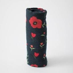 Little Unicorn Little Unicorn - Couverture en Mousseline de Coton à l'Unité/Single Cotton Muslin Blanket, Dark Summer Poppy