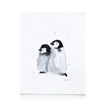 Léolia Art et Illustrations Léolia - Aquarelle/Watercolor, Bébés Manchots dans la Neige/Baby Penguins in the Snow