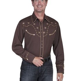 Scully Sportswear, INC Men's Scully 2-Tone Star Stud Chocolate Shirt