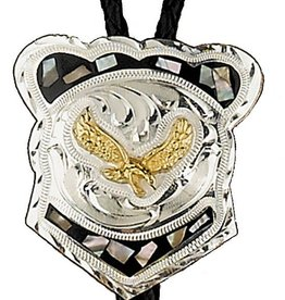 Western Express Bolo Tie - Abalone Eagle German Silver Adult