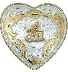 Western Express Barrel Racer Belt Buckle Slvr/Gld Heart