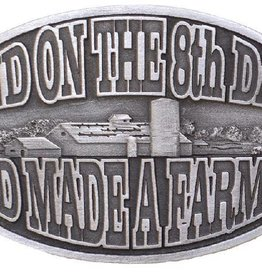 "Western Express Belt Buckle, ""God Made A Farmer Silver 3 3/4x2 3/4"