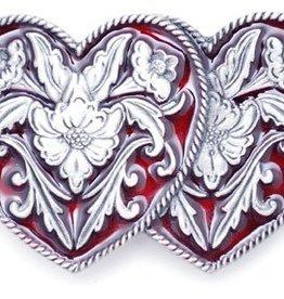"""Western Express Double Heart Red Enamel Buckle 3"""" x 2"""