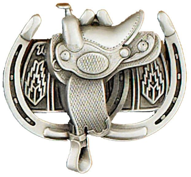 Western Express Belt Buckle: Saddle & Horseshoe