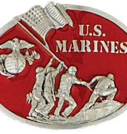 Western Express Belt Buckle: US Marine Red 3x2-3/4