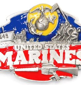 "WEX Belt Buckle: US Marines Enameled 3-1/8""x2-1/2"