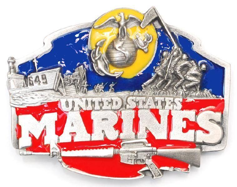 "WEX Belt Buckle: US Marines Enameled 3-1/8""x2-1/2"
