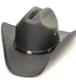 WEX Children's Cattleman Straw Hat, Silver Conchos, Black