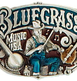 Western Express Bluegrass Belt Buckle Blue Red 3 x 2