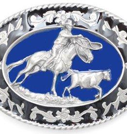Western Express Cattle Roping Belt Buckle Blue Enamel 3 x 2.5