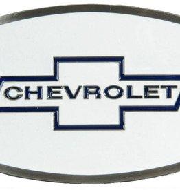 Western Express Chevrolet Enamel Belt Buckle White 3 x 2 1/4