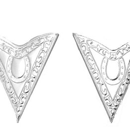 Western Express Collar Tips - Silver w/Horseshoe