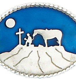 Western Express Cowboy Praying Belt Buckle Blue