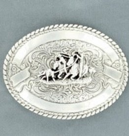 M & F Western Products Crumrine Team Roper Buckle Silver Oval T.Roper