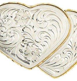 Western Express Heart Belt Buckle german slvr Hearts