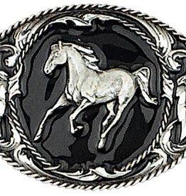 "WEX Horse Belt Buckle Enamel Diamon black 3.25""x2.50"