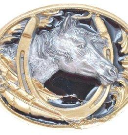 Western Express Horsehead/Horseshoe Belt Buckle Black/Gold 3X2-3/8