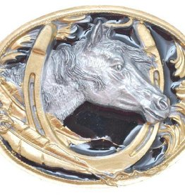 WEX Horsehead/Horseshoe Belt Buckle Black/Gold 3X2-3/8