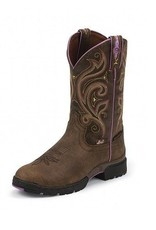 Justin Western Women's Justin Brown George Strait Waterproof Boots with Purple Accents - Reg Price $165.95 now 25% OFF!