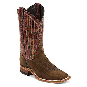 Justin Western Women's Justin Brown Bent Rail Boots with Brown Pattern Top - Reg $199.95 now 25% OFF!