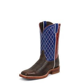 Justin Western Men's Justin Dark Brown Bent Rail Boots With Blue & Red Top 10.5EE - Reg $217.95 @ 20% OFF!
