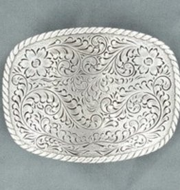 M & F Nocona Belt Buckle- Floral Rectangle 2.75x3.75