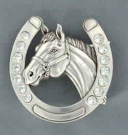 M & F Western Products Nocona Belt Buckle- Horseshoe Horsehead 2.75x3.5