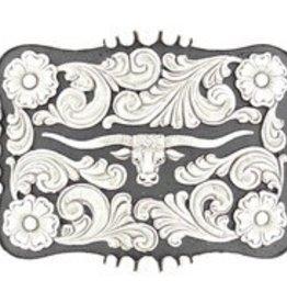 M & F Nocona Belt Buckle: Longhorn Slvr/Blk Rectangle