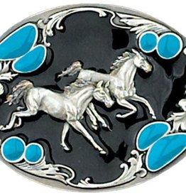 Western Express Running Horses Belt Buckle