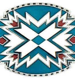 WEX Southwestern Belt Buckle Turq White 3.25 x 2.5