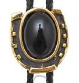Western Express Bolo Tie - Gold Horseshoe w/ Onyx Stone