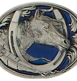 Western Express Horse Head Belt Buckle