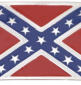 Western Express Confederate Flag Buckle Silver