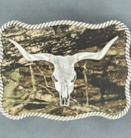 M & F Western Products Nocona Belt Buckle- Bull Skull With Camo Backgroud