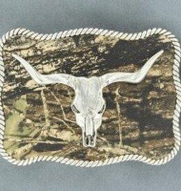 Nocona Nocona Belt Buckle- Bull Skull With Camo Backgroud