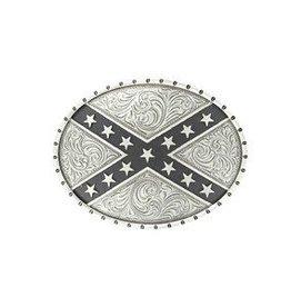 M & F Nocona Belt Buckle- Silver Rebel Flag